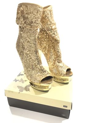 Pleaser Boots SZ 10 Used Gold Sequin Mid Calf for Sale in West Palm Beach, FL