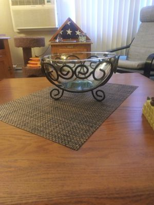 BLACK WROUGHT IRON AND GLASS DECORATIVE TABLE BOWL for Sale in Lakewood, CO