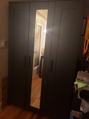 IKEA Brimnes black closet wardrobe with mirror for Sale in Miami Beach, FL
