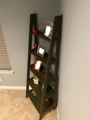 Brand New 5 Tier Grey Wood Beveled Ladder Shelf(New in Box) for Sale in Silver Spring, MD