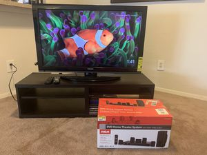 "40"" Toshiba TV; brown wooden TV stand for Sale in Fort Worth, TX"