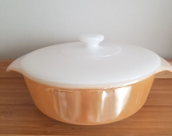 Fire King Peach Luster 1 Quart Covered Casserole