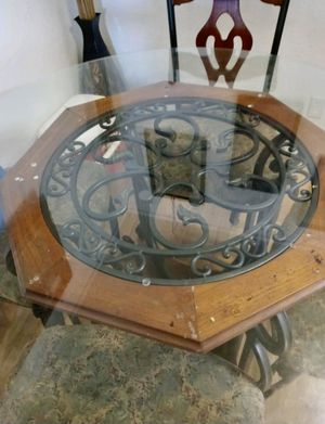 Wood and Wrought Iron Kitchen table with 4 chairs for Sale in Bakersfield, CA