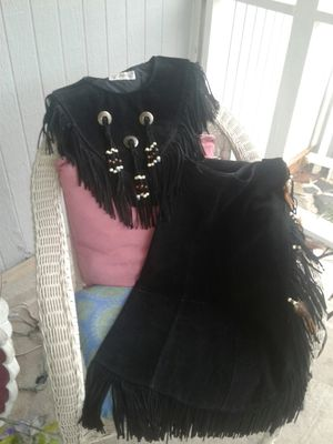 STEER BRAND leather skirt and shawl for Sale in Little River, SC