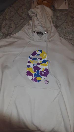 bape X ASSC white hoodie size medium OPEN TO OFFERS for Sale in Oklahoma City, OK