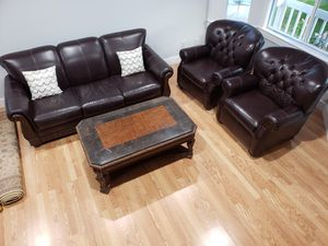 Beautiful leather couch set with matching wood coffee table for Sale in Kent, WA
