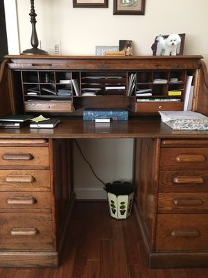 Antique roll top desk and oak chair for Sale in Arlington, VA