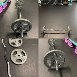 Chrome Curl Bar And 50lbs Of Standard Weight Plates for Sale in Riverside,  CA