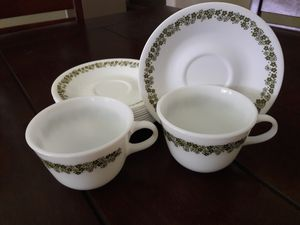 TEA CUP CORELLE DISHES AND 2 MILK GLASS MUGS for Sale in Upland, CA