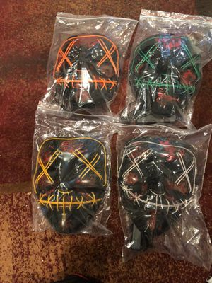 LED Halloween Purge Masks (Green, Yellow, Orange and White) for Sale in Paeonian Springs, VA