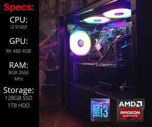 Warzone/PUBG Gaming PC (9th Gen Intel, 128GB SSD, 1TB HDD, RX 480) for Sale in San Leandro, CA