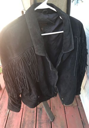 Leather jacket with fringe size large for Sale in Fort Myers, FL