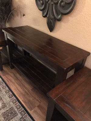 Beautiful, Elegant, Heavy, Very Sturdy & Almost NEW tables Set, Real Wood, Dark Brown Color. for Sale in Fort Worth, TX