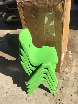 Kids plastic green chairs set of 4 brand new/ stackable / toddler chairs for Sale in Glendale, AZ