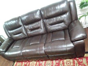 Real genuine Italian leather recliner sofa loveseat and chair brown for Sale in Gaithersburg, MD