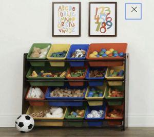 Dark Walnut Kids Toy Storage Organizer w/ 16 Plastic Bins for Sale in Whittier, CA