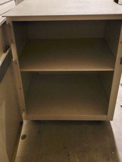 Rolling metal storage cart cabinet tv stand with 2 shelves for Sale in Boise,  ID