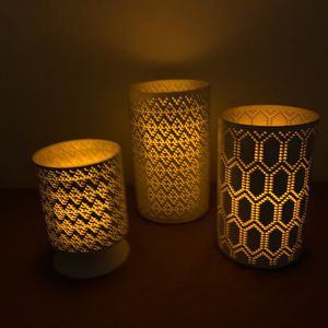 "Set Of 3 Threshold Candle Pillars With 3 Flameless Candles. 9"" 7"" 5.5"" for Sale in Atlanta, GA"