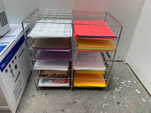 Metal paper organizer shelves with the paper for Sale in Bellevue, WA