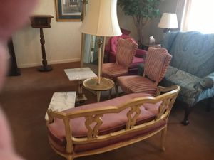 Antique French Provincial Parlor set 7 piece 2 chairs, 2 tables, 1 full length mirror, 1 lamp, and a seat! for Sale in Royal Oak, MI