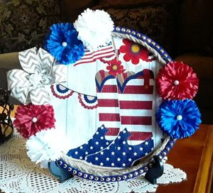 July 4rth decorative handmade plate decor crafted by me $12.00, cowboy boots print for Sale in Las Vegas, NV