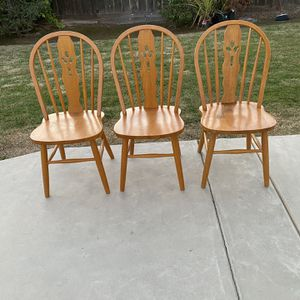 Chairs 3 Pine Wood Chairs for Sale in Clovis, CA