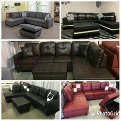 Brand New Leather Sectionals With Storage Ottoman for Sale in Renton,  WA
