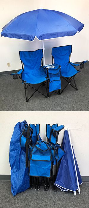 New $35 Portable Folding Picnic Double Chair w/ Umbrella Table Cooler Beach Camping Chair for Sale in Pico Rivera, CA