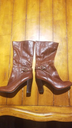 New size 7.5 women's brown leather boots nine west fall winter heels fashion for Sale in Gilbert, AZ