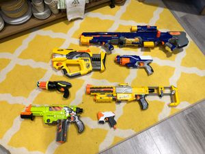 Assorted Nerf Guns, Nerf Shield, Extra Bullets & Clips for Sale in Edgewood, WA