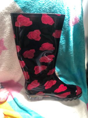 Red rose rain boots for Sale in Fort Lauderdale, FL