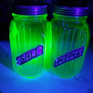 Vintage Vaseline Uranium Hoosier Glass Salt and Pepper Shakers for Sale in Los Angeles, CA