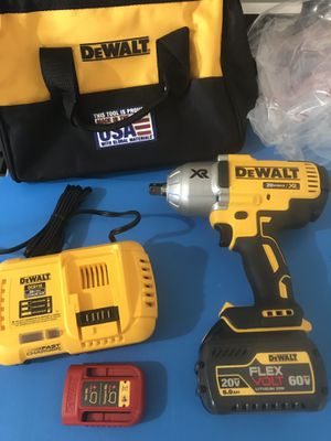DEWALT 20-Volt Max XR Li-Ion Brushless High Torque 1/2 in. Impact Wrench with Dentent Pin Anvil + FlexVolt battery + fast charger for Sale in Phoenix, AZ