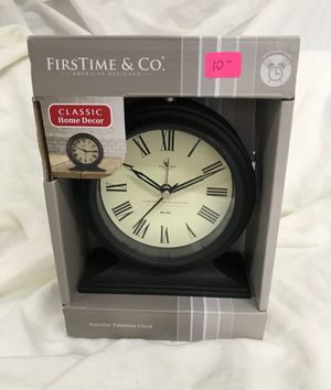 New Table Top Clock - Rustic Black Finish - With Alarm and Glow-In-The-dark Hands for Sale in Raleigh, NC
