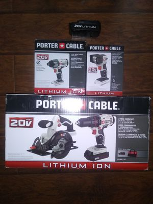 Porter cable combo drills, circular saw and flash light 2 batteries and charger for Sale in Garner, NC