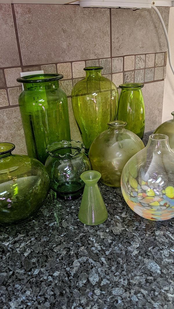 Green glass vase collection