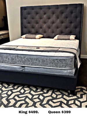 King deluxe dark linen bed with mattress and free delivery for Sale in Mesquite, TX