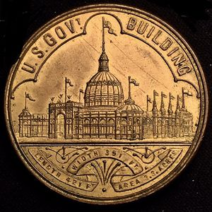 Beautiful 1893 World's Columbian Exposition Gov't Building Treasury Brass Token Incredible Condition LOOK! for Sale in Batavia, IL