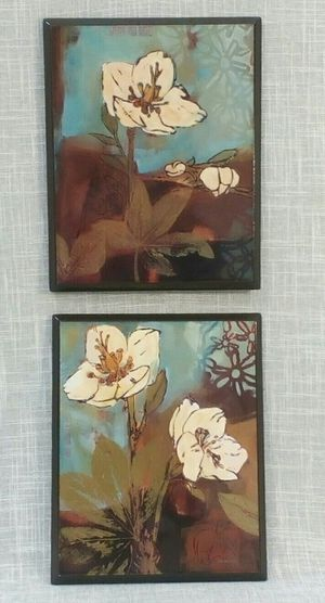 "2pc. Floral Wall Art Set (laminated high luster finish), 10""x8"" *PICKUP ONLY* home decor, household, pictures, paintings for Sale in Mesa, AZ"