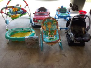 Baby bath, baby bath sling, Ford truck walker, walker, bouncer, activity bouncer, car seat. Each item priced individually for Sale in Killeen, TX