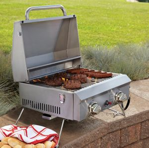 Portable Grill Stainless Steel 2-Burner Propane Gas for 12 Burgers NEW for Sale in Pembroke Pines, FL