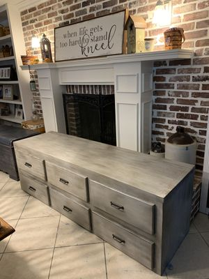 Beautiful Refinished 73.5 inch Heavy Rustic Farmhouse Style Low Media Console / TV stand / Entryway Piece for Extra Storage or Shoes! for Sale in Lake Worth, FL