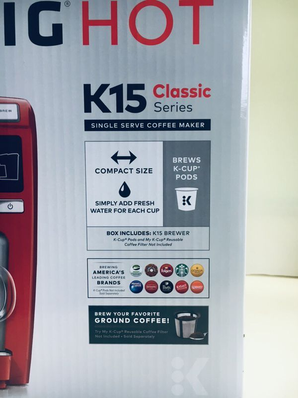 KEURIG K15 CLASSIC Pod Coffee Maker Machine Brewer RED NEW