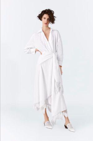 ZARA NEW SS 2019 FRINGED WRAP LINEN DRESS WHITE SIZE XL Ref. 2165/828 BNWT for Sale in Miami, FL