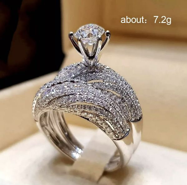 2pcs/set 18k White Gold Filled Couple Rings Wedding Engagement Jewelry Size 8