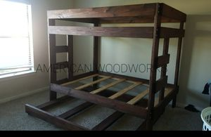 Full over full bunk bed with trundle full for Sale in Houston, TX