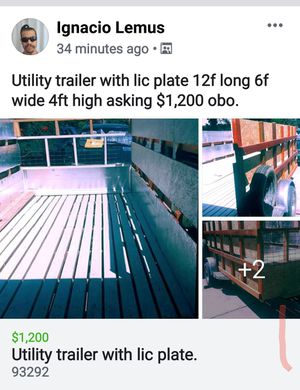 Utility trailer 10 ft long. 6ft wide X4 ft high for Sale in Visalia, CA
