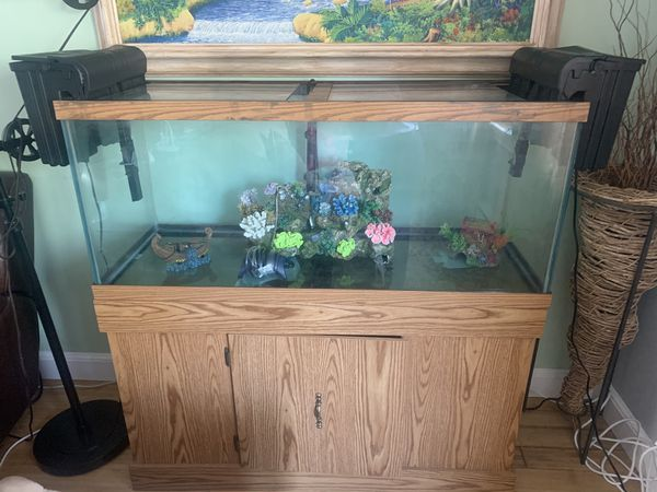 Full 75 gallon aquarium setup with stand,sand, filters, decorations and air pumps