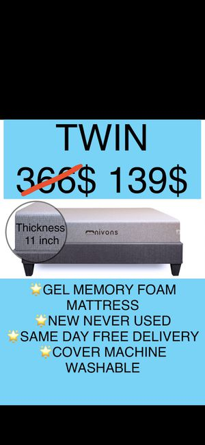 Twin 11 inch Gel Memory Foam Mattress (WORKS WITH ALL BED TYPES ,Box Spring,Platform of Floor,Divan Bases,Traditional Bases,Bed Frame) for Sale in Alpharetta, GA