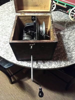 Antique Vintage Wind Up Trolling Fishing Chugging Line Custom Made Old Wooden Ice Fishing Storage Box for Sale in Port Huron, MI